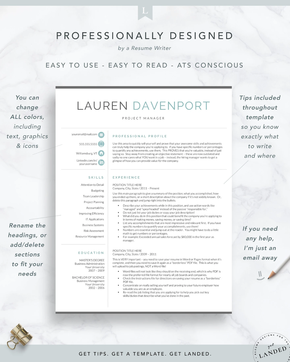 Resume Template for Word & Pages, Marketing and Sales