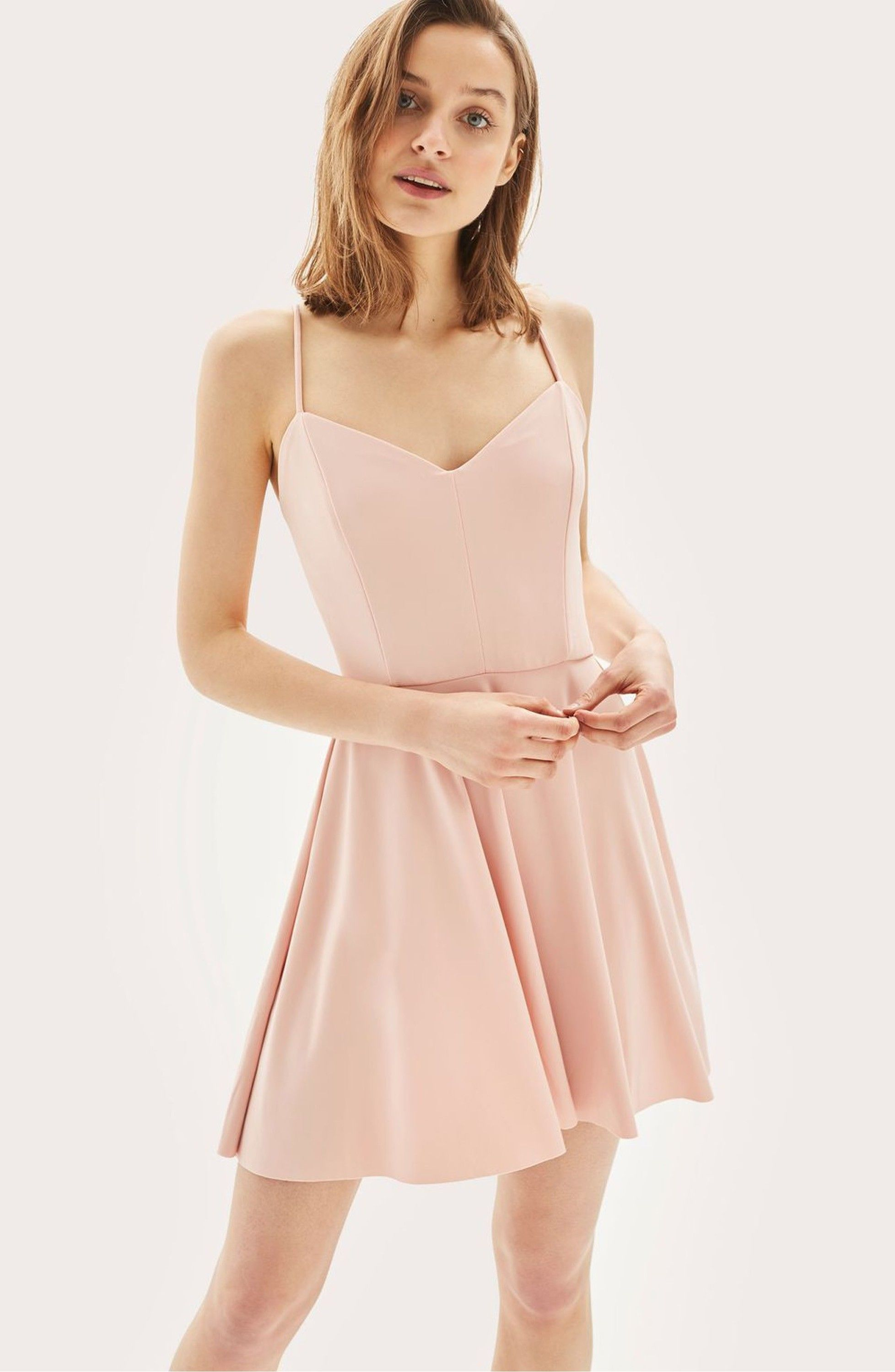 Strappy skater minidress pink dusty pink and topshop