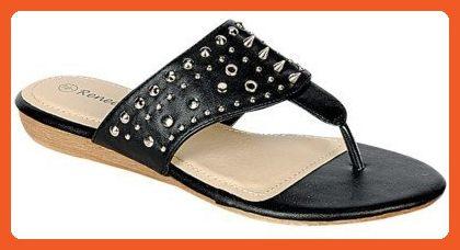 63c6fc052d Reneeze DORIS-03 Women's Studded Low Heel Sandals, Color: BLACK, Size: 6 -  Sandals for women (*Amazon Partner-Link)