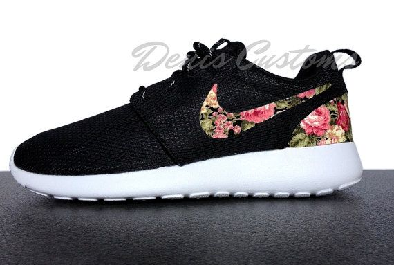 0476e4aa386c ... where to buy nike roshe run one black with custom pink floral print  9c129 ba1a7
