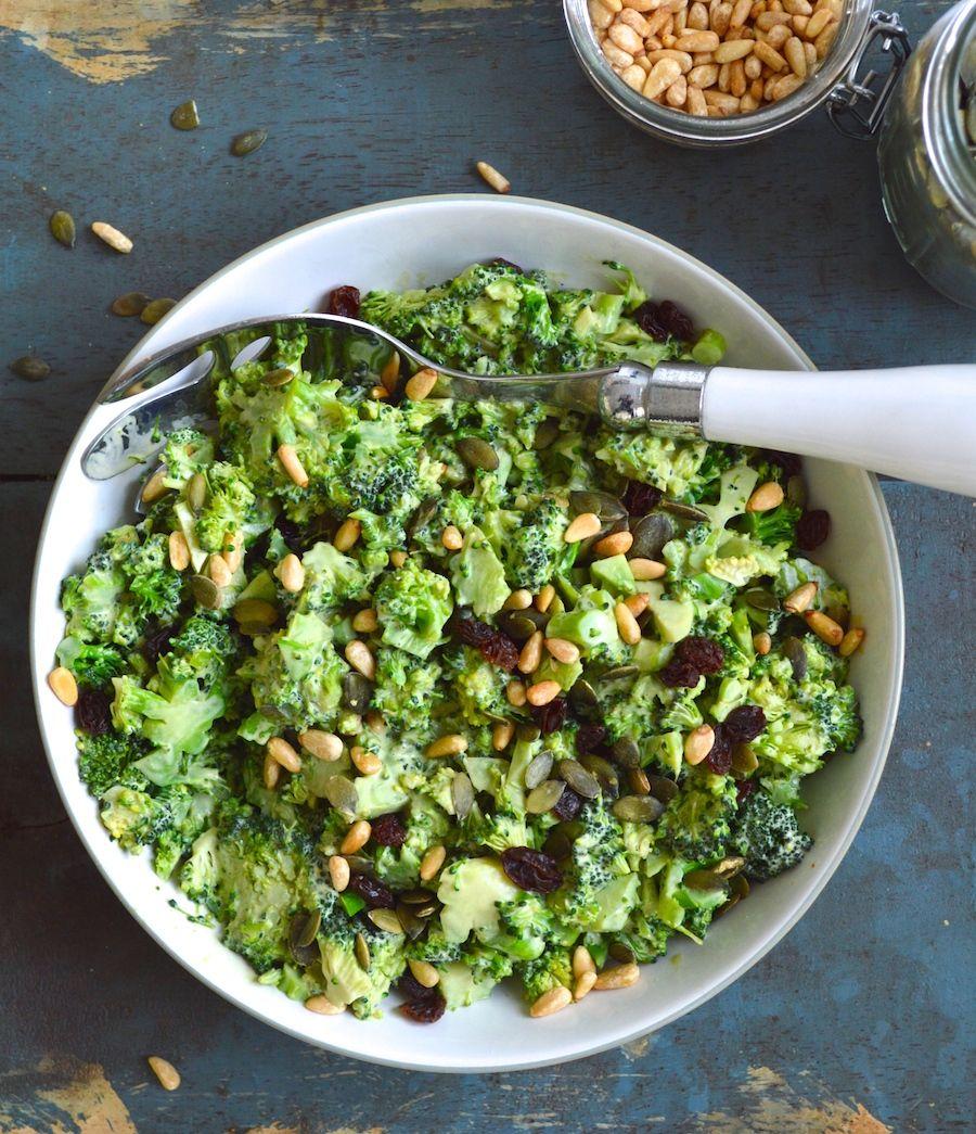 Immune boosting broccoli Salad with Cashew Cream Dressing / via Nyoutritious.com