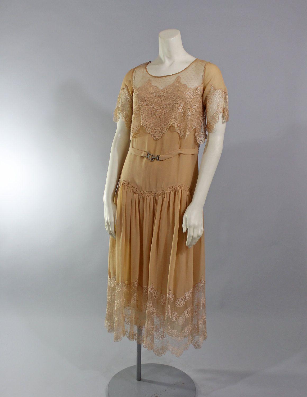2b1dc93420085 1920s Vintage Dress...Deco Nude Ecru Silk Chiffon Lace 20s Dress with Sash  Belt Rhinestone Buckle Size Small. $174.00, via Etsy.