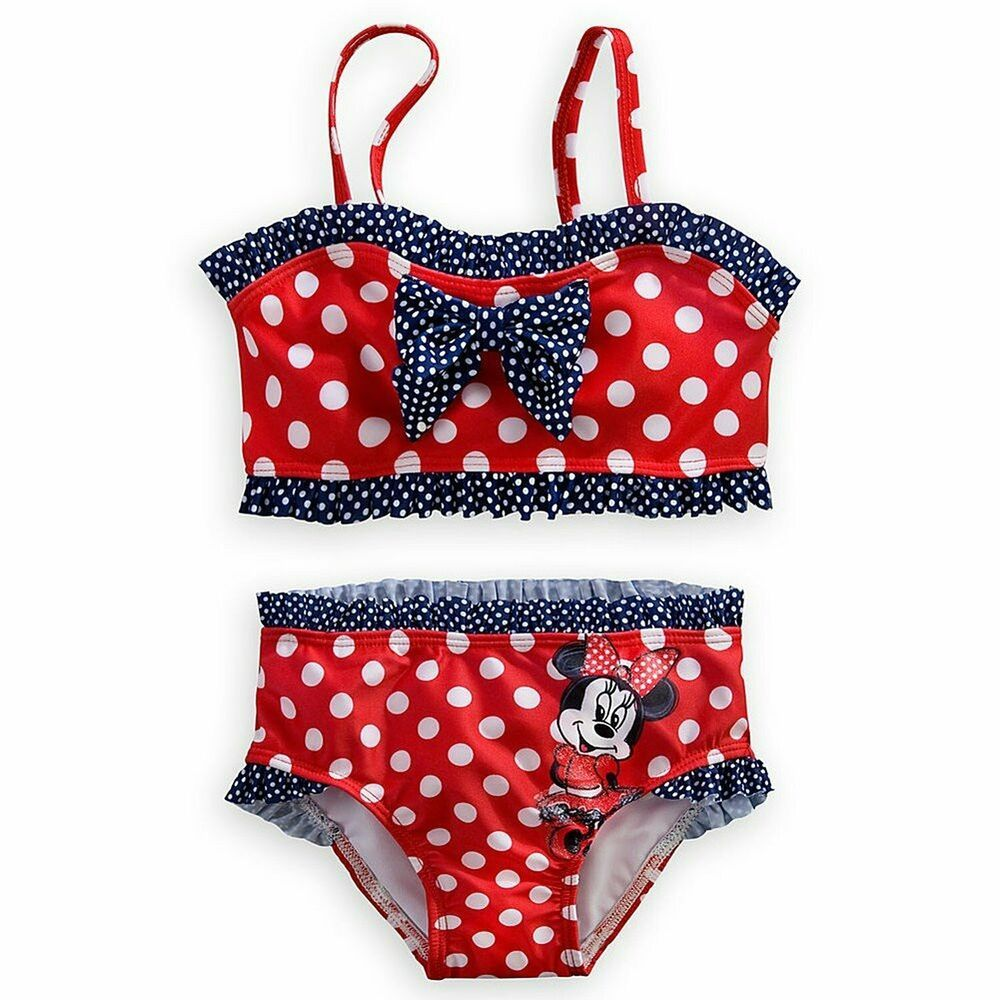 DISNEY So Cute MINNIE MOUSE Little Blue Polka Dot Swimming Costume NWT
