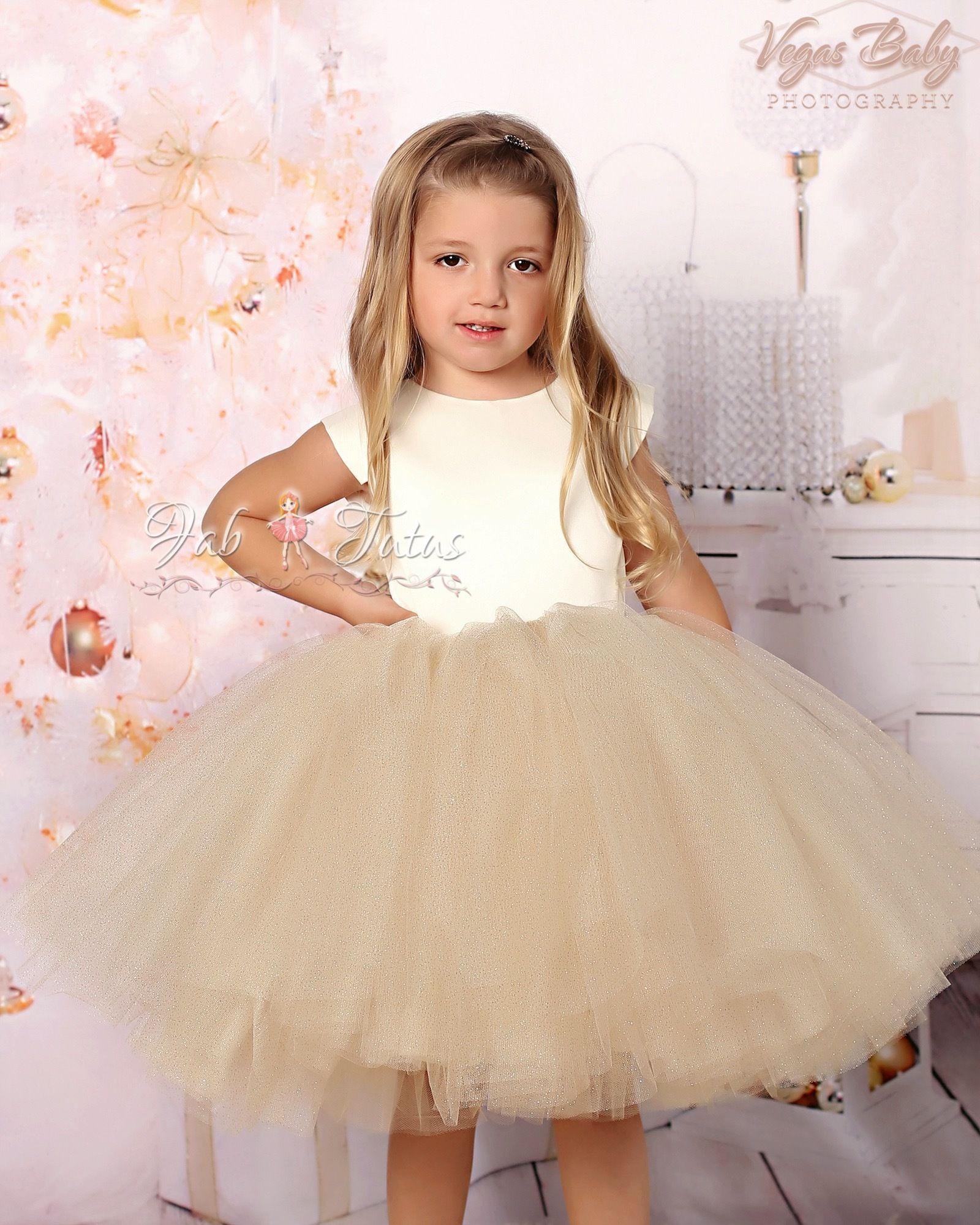 24c0ca26b Ivory gold glitter tulle flower girl tutu dress -