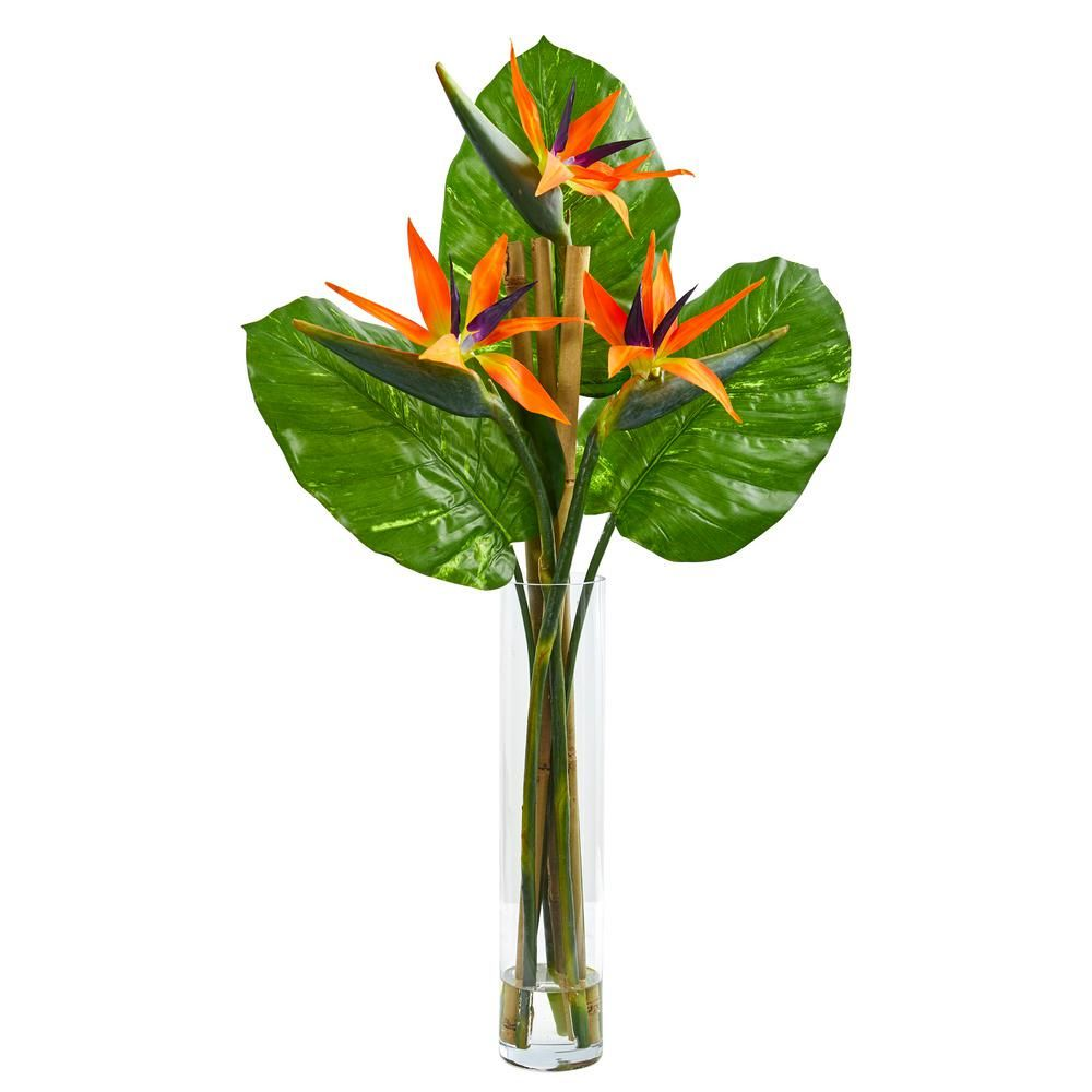 Nearly Natural Indoor Bird Of Paradise Artificial Arrangement In Cylinder Vase 1739 The Home Depot Birds Of Paradise Flower White Flower Arrangements Artificial Birds