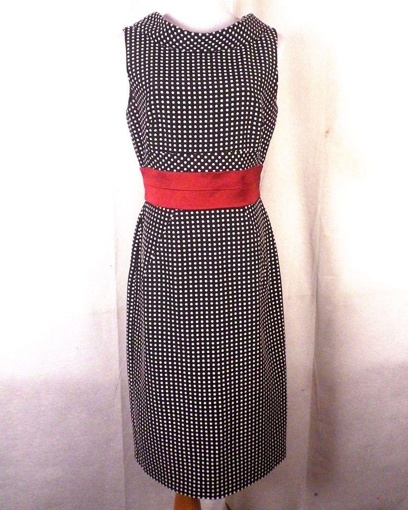 36e79da0f8a8 euc Donna Ricco Black   White Textured Polka Dot Shift Dress red ribbon  waist 8  DonnaRicco  Shift