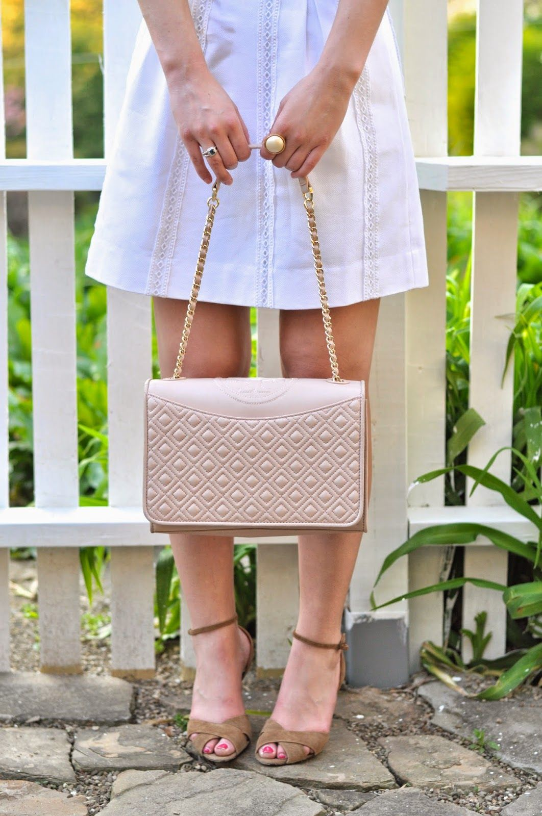 tory burch fleming, ralph lauren collection shoes and j. crew white skirt