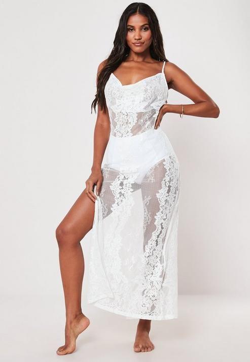 Missguided - Premium White Lace Cowl Neck Maxi Beach Dress
