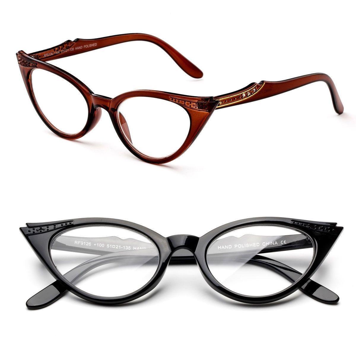 38b19d813547  7.99 - Fashion Cat Eyed Frame Reading Glasses Temple Design Tort Black  Brown  ebay  Fashion