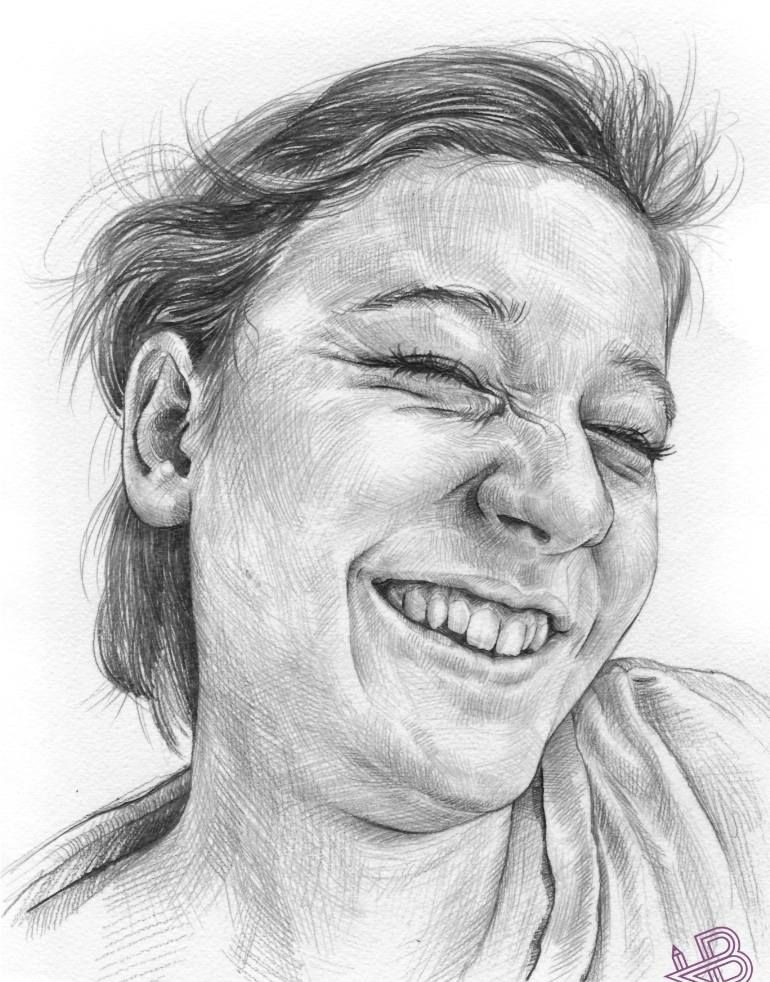 laugh drawing by hb graphik woman face figurative