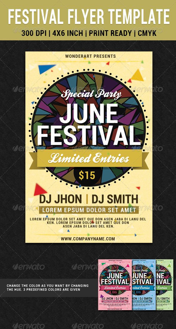 June Festival Party Flyer Poster Template  Festival Party Party