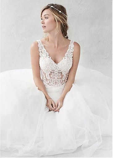Fashionable Tulle Satin V Neck See Through A Line Wedding Dresses With Beaded Lace Appliqu Affordable Bridal Dresses A Line Wedding Dress Bridal Dress Design