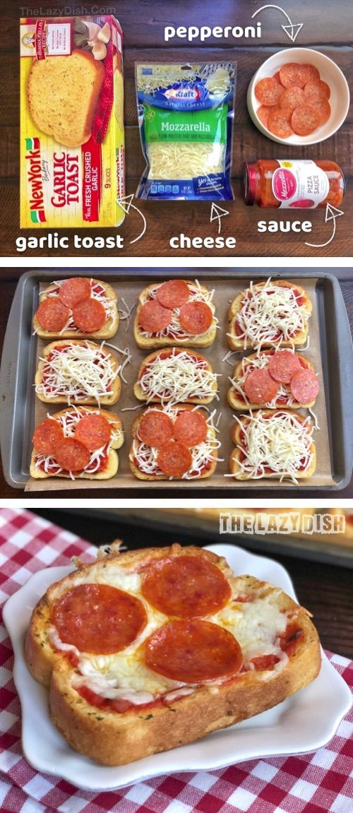 Looking for quick and easy dinner recipes for the family? These mini garlic toast pizzas are perfect for busy week nights! Just 3 ingredients, and so simple the kids can make it. The Lazy Dish #thelazydish #easydinner #lazyfood #pizza #dishesfordinner