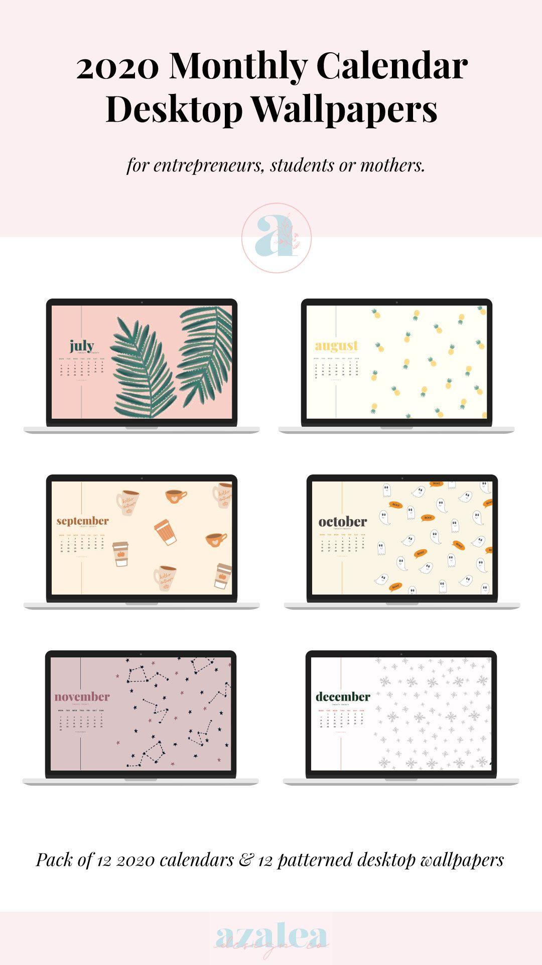 2021 Monthly Desktop Calendars Desktop Wallpaper Instant | Etsy