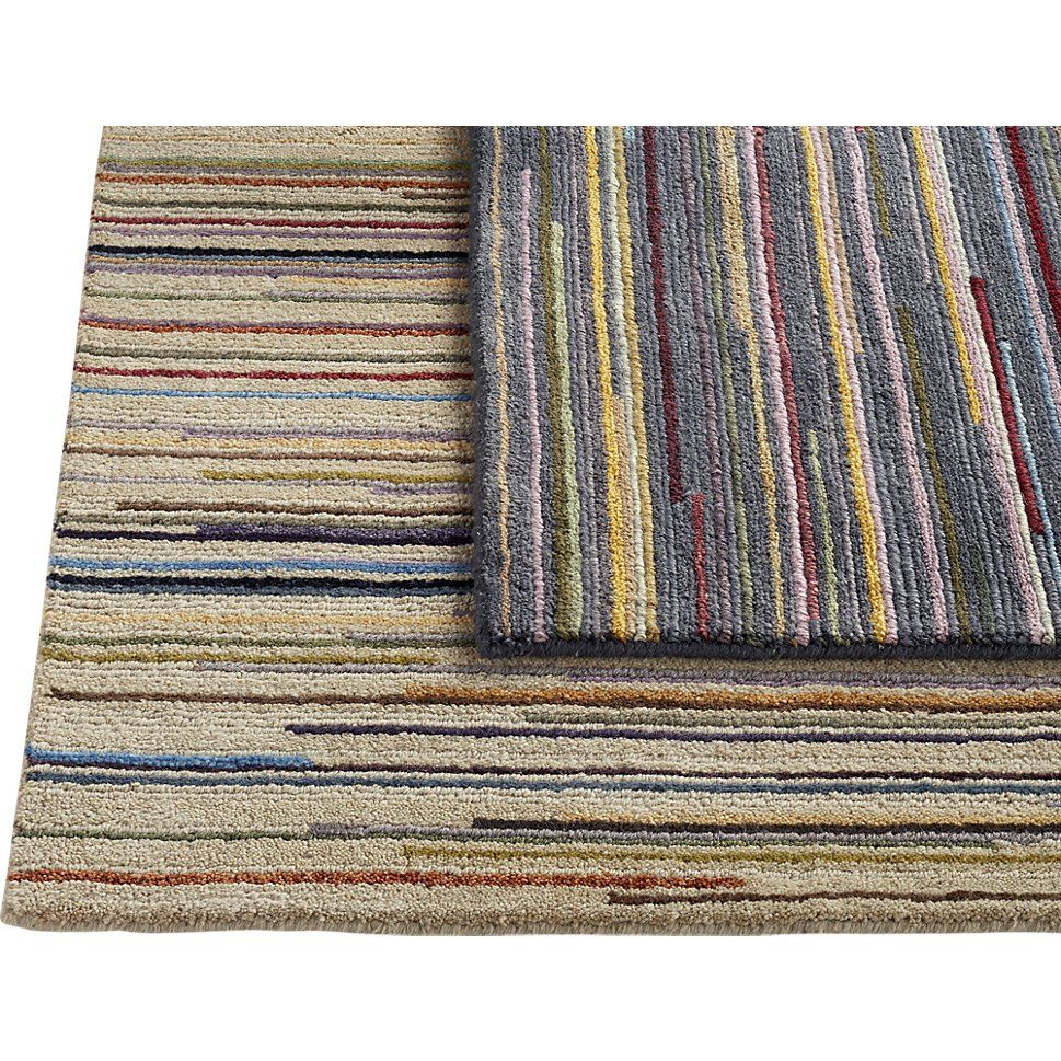 Savoy Cream Striped Hand Knotted Wool 9'x12' Rug | Crate and Barrel
