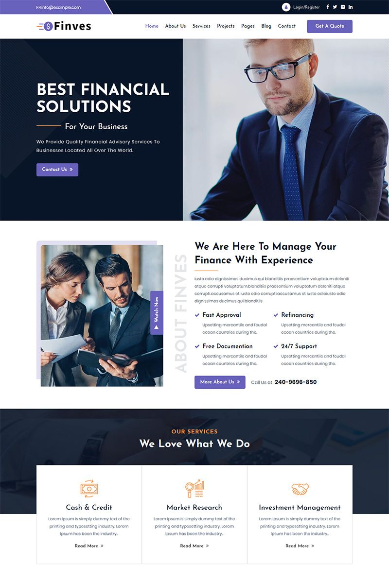 Finves Financial Advisor Responsive Html Website Template 97875 Website Template Templates Html Website Templates