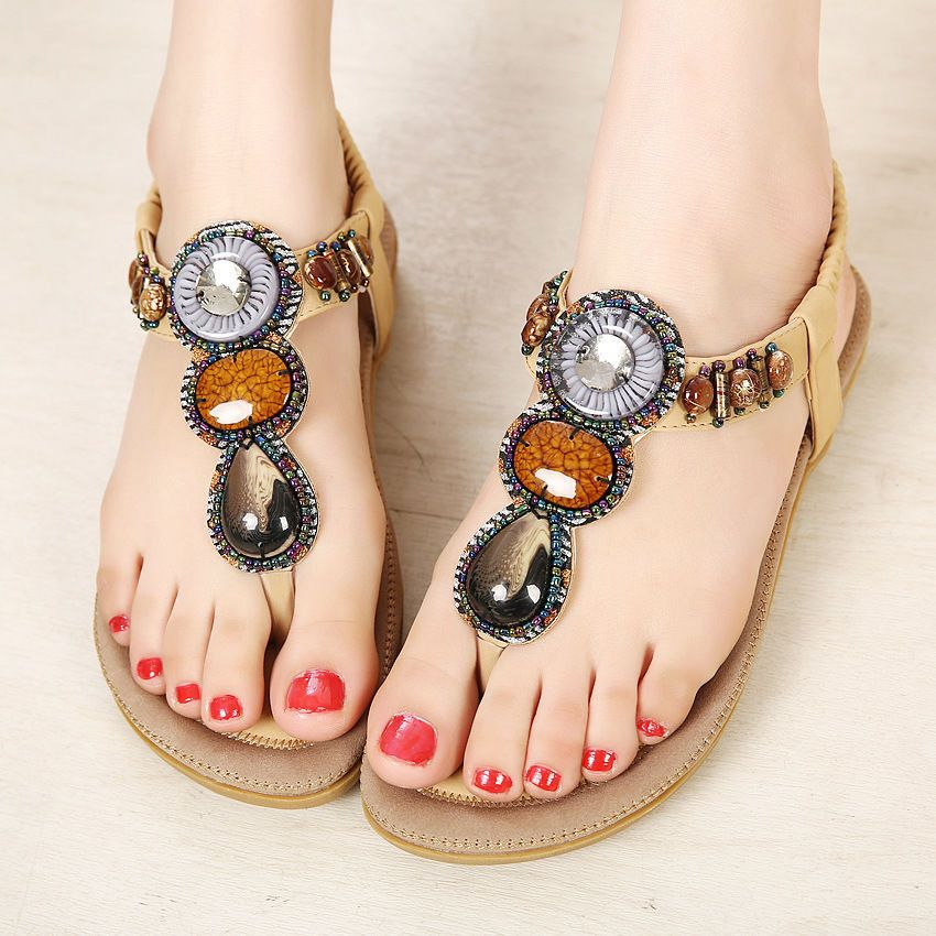 Summer Women Bohemia Flat Slippers Flip Flops Sandals Boho Beach Jewelery Shoes