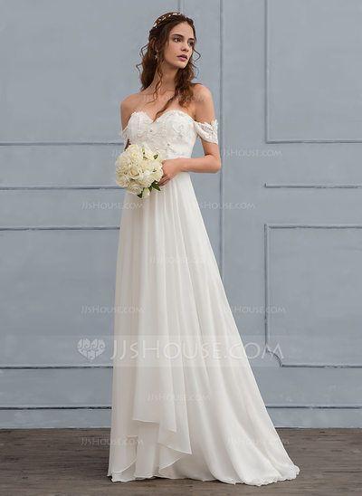 0fe232199d99 [Kr 1360] A-linjeformat Off-shoulder Sweep släp Chiffong Bröllopsklänning  med Spets Beading Blomma (or) (002118437)