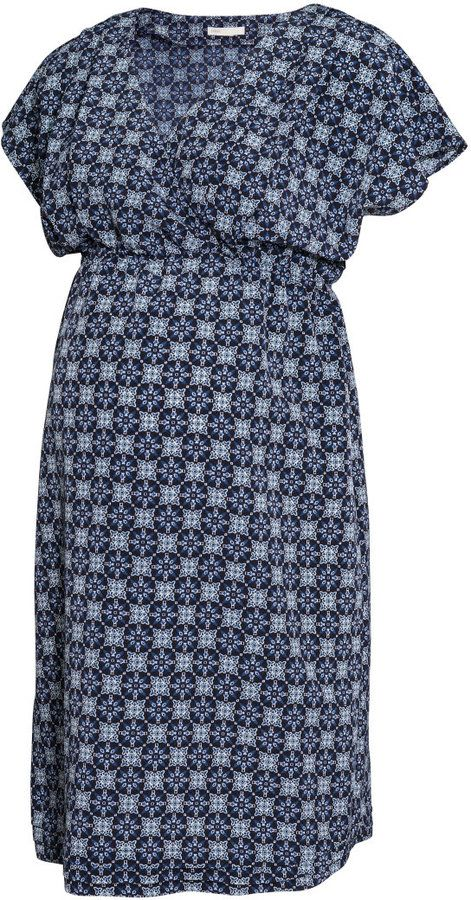 2c74582f0fe H M MAMA Blue Patterned Dress