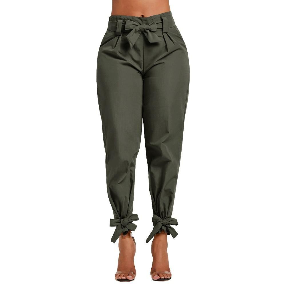 Pajarita suelta volantes pantalones casuales sólidos con bolsillo de cinturón de cintura alta – verde / XXL / China  – Moda