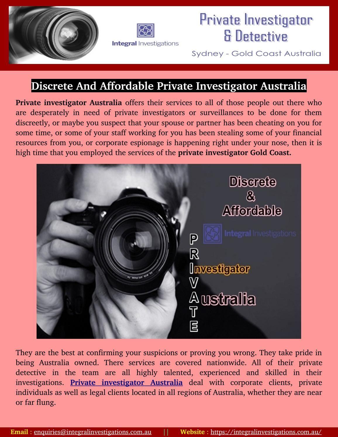 Discrete and affordable private investigator australia