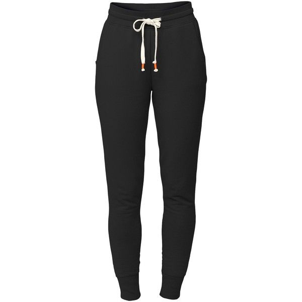 LIJA Varsity Lux Sweat Pant (€17) ❤ liked on Polyvore featuring activewear, activewear pants, pants, bottoms, sweatpants, jeans, black, running, cotton sweat pants and sweat pants