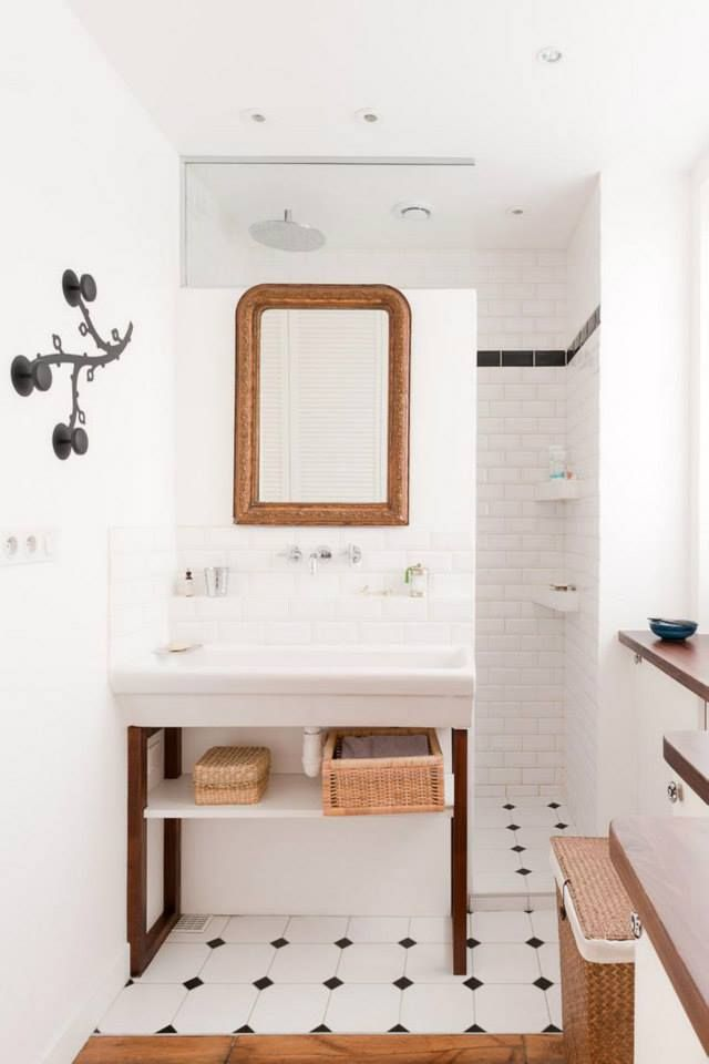 Walk In Shower Behind Vanity Wall No Glass To Clean Love The Wall Hooks Tiny Bathrooms Open Showers Small Bathroom