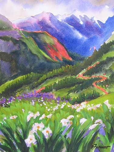 The Peaks Rocky Mountains Watercolor Landscape Painting Scenic