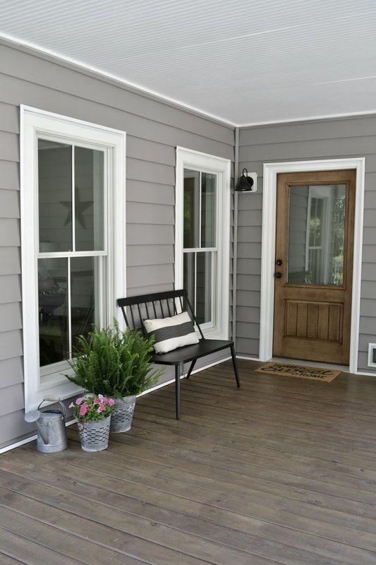 Farmhouse Front Porch Wood Doors Entryway Gray