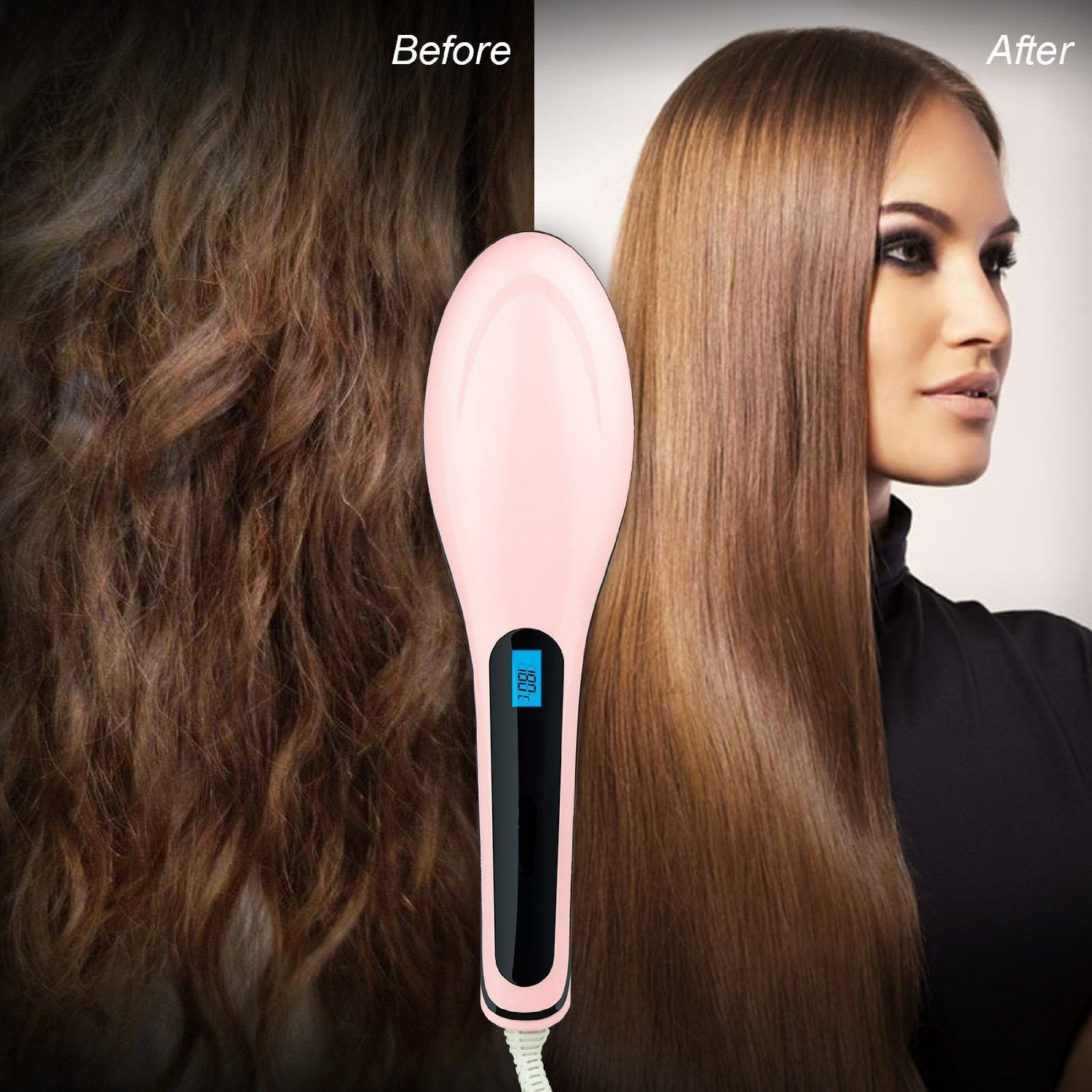 Before and after using StraightFix™ Hair Straightening