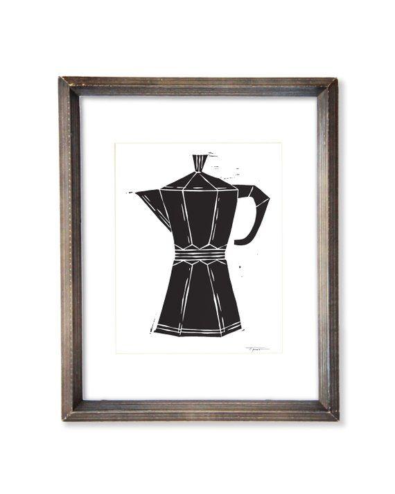 Modern Coffee / Espresso Maker - Kitchen Decor - Illustration - Wall Art - Linocut Block Print   Dig #espressomaker