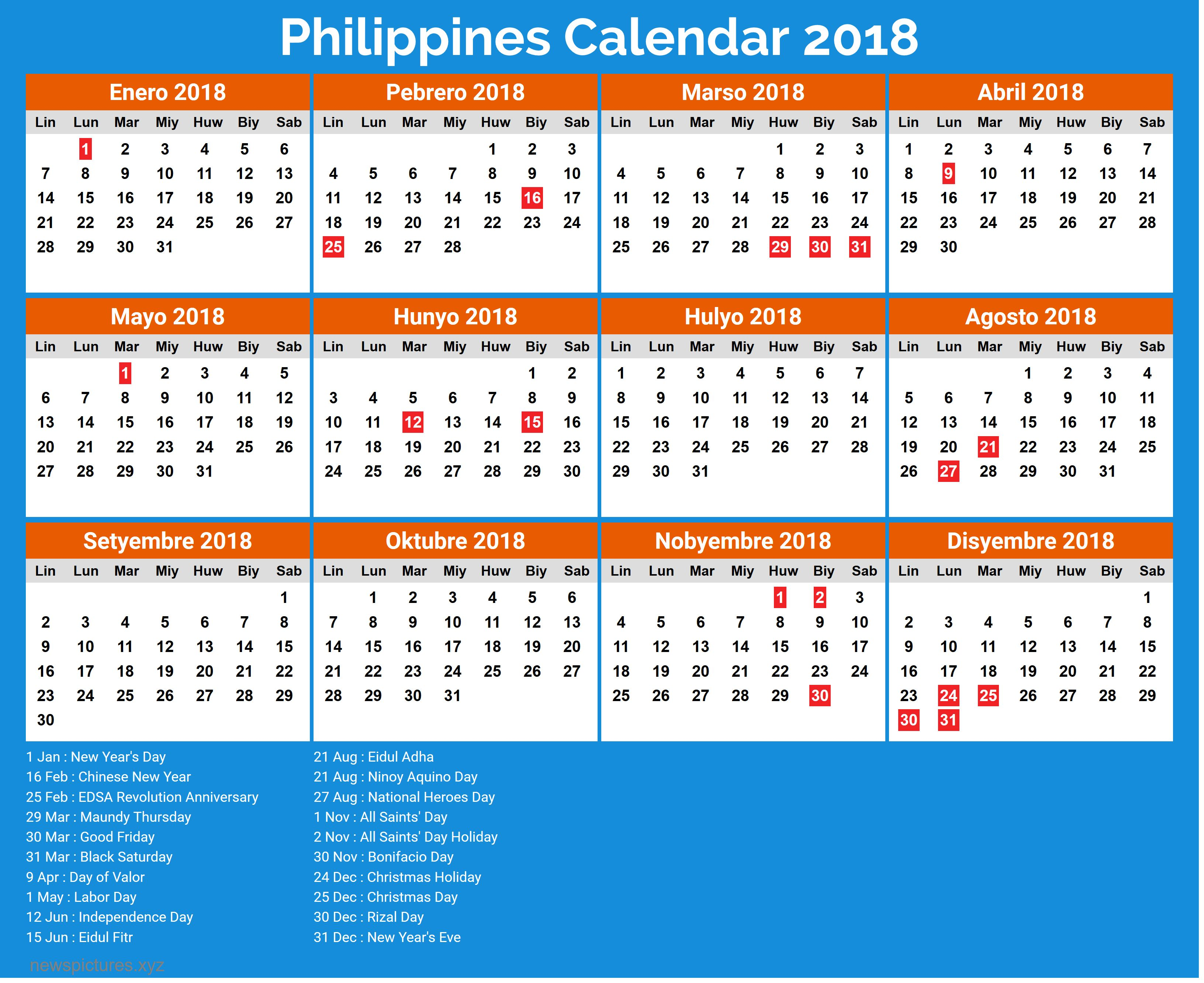 Image Result For Philippine Calendar 2019 With Holidays Printable