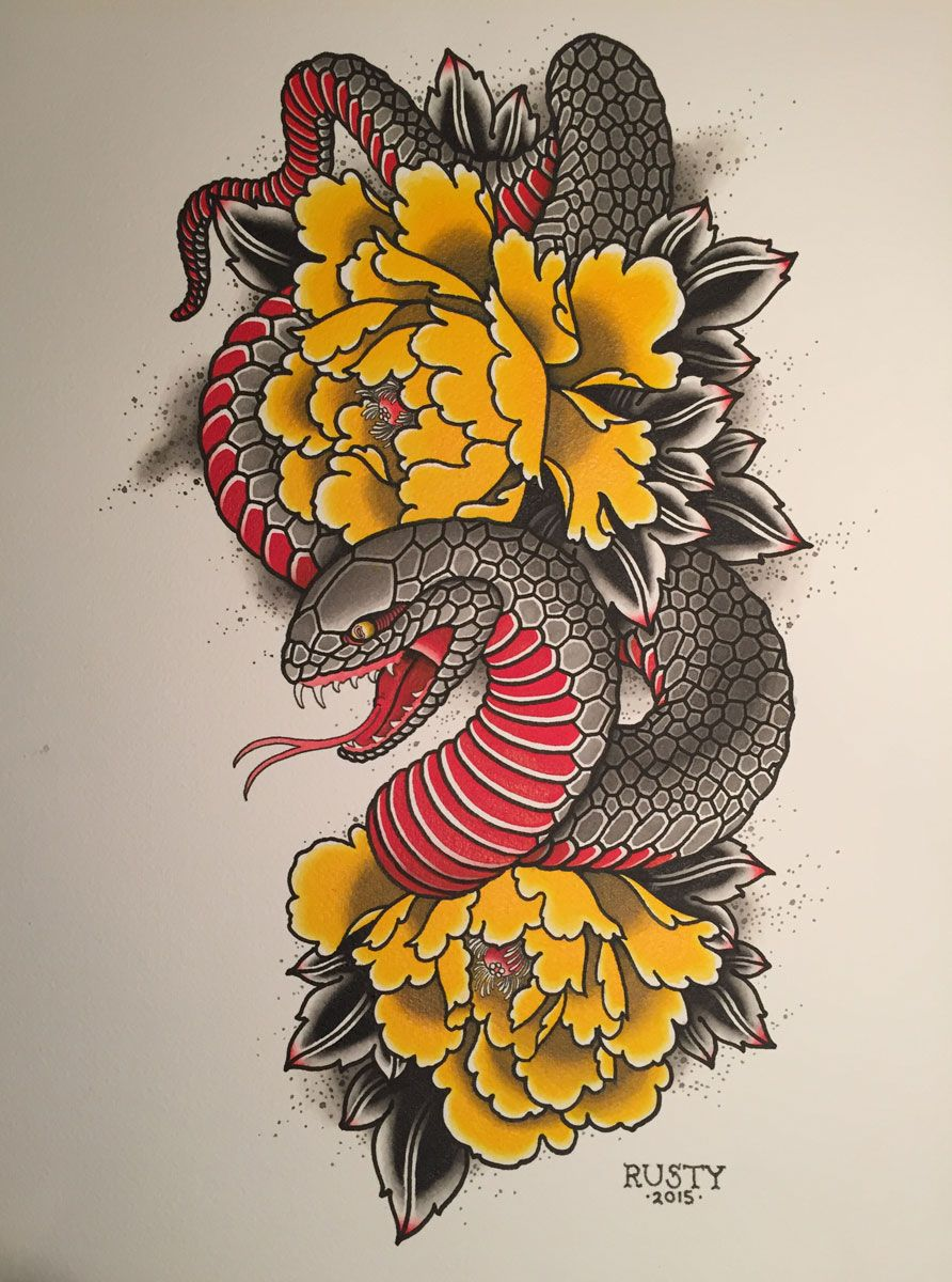 d9acbe468 Alex Rusty - Japanese snake + peony painting | japanese snake tattoo ...