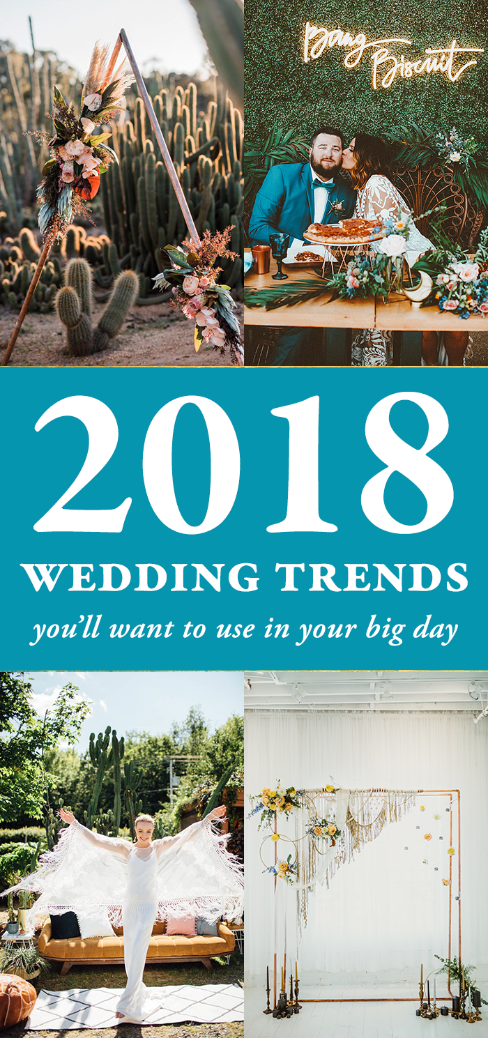Here is our collection of 2018 wedding trends that you'll wanna take note of #wedding #weddinginspiration #weddingtrends #weddingstyles #weddingdecor #ceremony #weddingceremony #weddingreception #weddinginspo #weddingtrends2018 #weddingplanning #bridalfashion #tabledecor