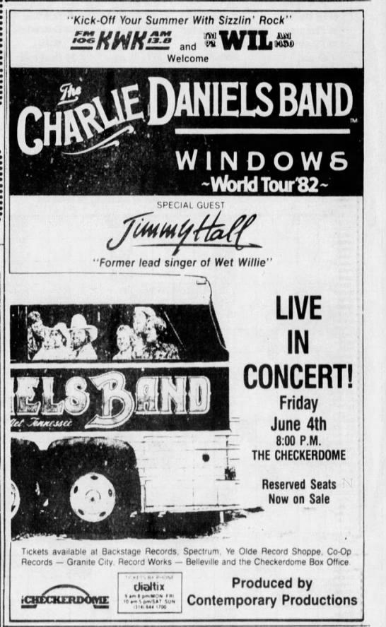 Charlie Daniels Band At The Checkerdome Arena 1982 In 2020 Charlie Daniels Charlie Band