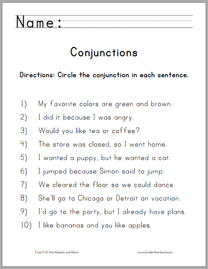 Circle the Conjunctions Worksheet for Grade One - Free to print ...