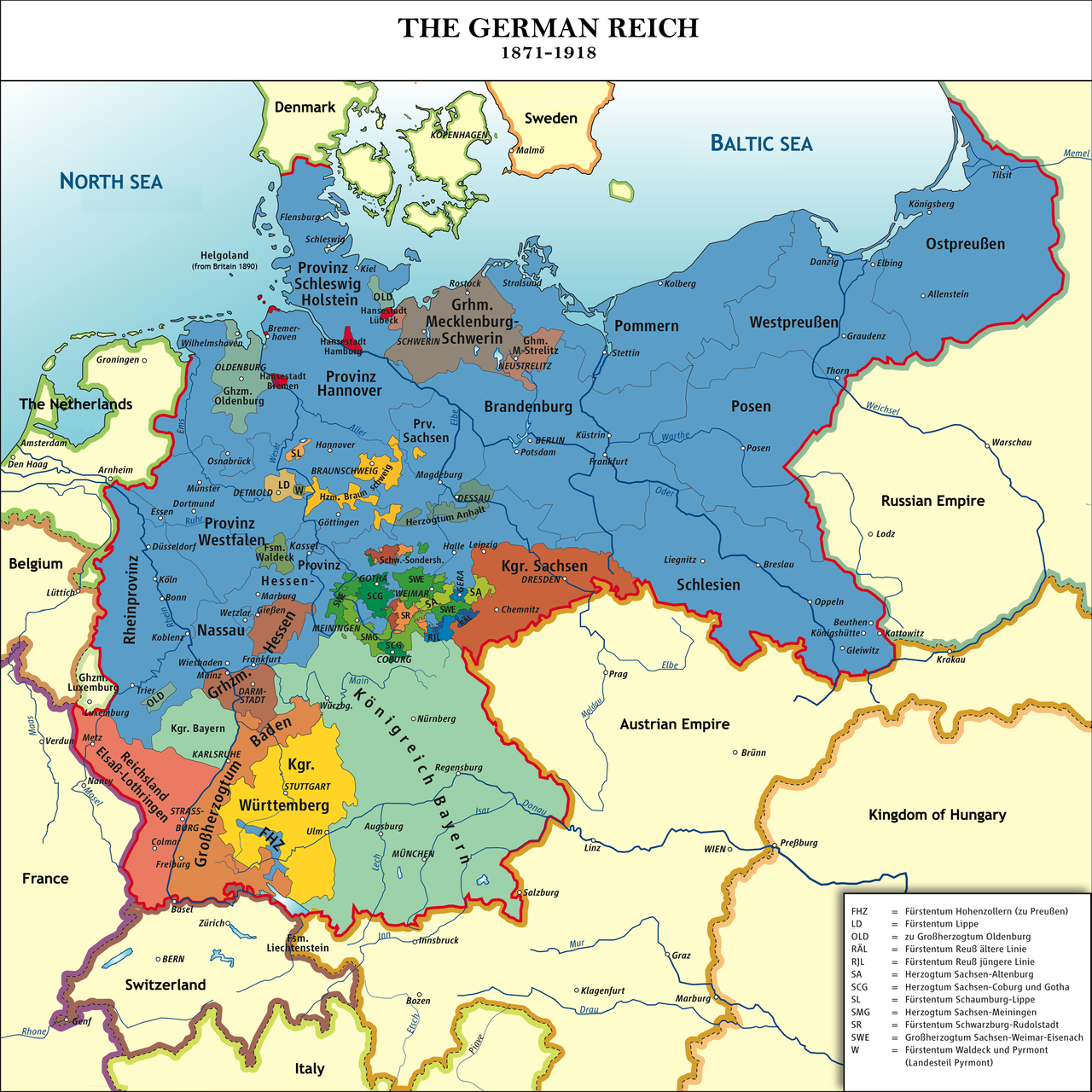 The German Empire (1871–1918), with the Kingdom of Prussia in blue on franco-prussian war, teutonic knights, wilhelm ii, german emperor, kingdom of axum map, prussia today map, crimean war, prussia on world map, union of soviet socialist republics map, united kingdom, king of prussia mall map, east prussia 1945 map, napoleonic wars, german confederation, prussia 1861 map, democratic republic of the congo map, austrian empire, german empire, west prussia map, prussia history map, kingdom of prussia flag, holy roman empire, kingdom of prussia 1815, confederation of the rhine map, east prussia, austro-prussian war, weimar republic, battle of waterloo, kingdom of prussia history, kingdom of denmark map, grand duchy of lithuania map, prussia 1853 map, prussia on a map, prussia flag map, kingdom of prussia coat of arms, unification of germany,