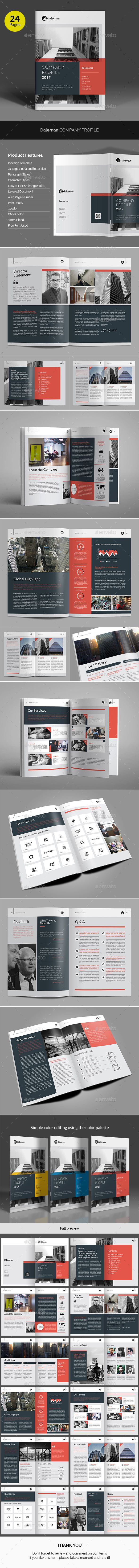 Daleman Company Profile | Indesign templates, Company profile and ...