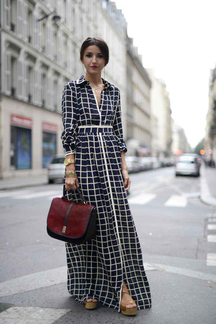 Love this grid pattern maxi dress for fall! Picture it paired with a green utility jacket!