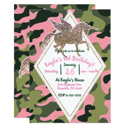 Pink Green Camo Camouflage Gold Unicorn Party Card