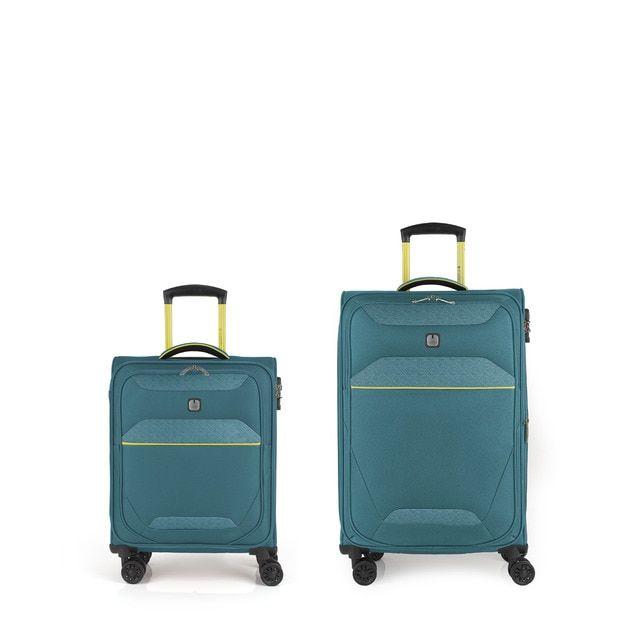 Juego de 2 maletas (cabina y mediana) Giro rígidas en color turquesa con capacidad de 103 L