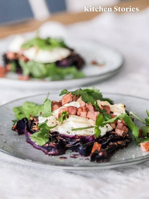 Photo of Baked red cabbage steaks with goat cheese