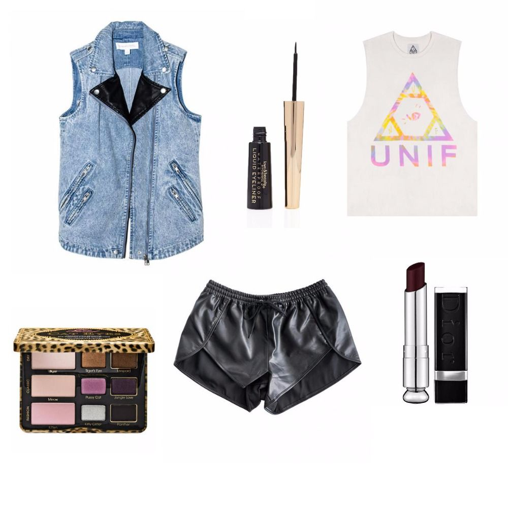 Layer your white top from UNIF with a Collective Habbit denim vest. Add an extra punch of a rockin' vibe with a pair of leather shorts!