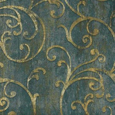Tapete Barock Struktur Blau Grün Gold Tapeten Rasch Textil