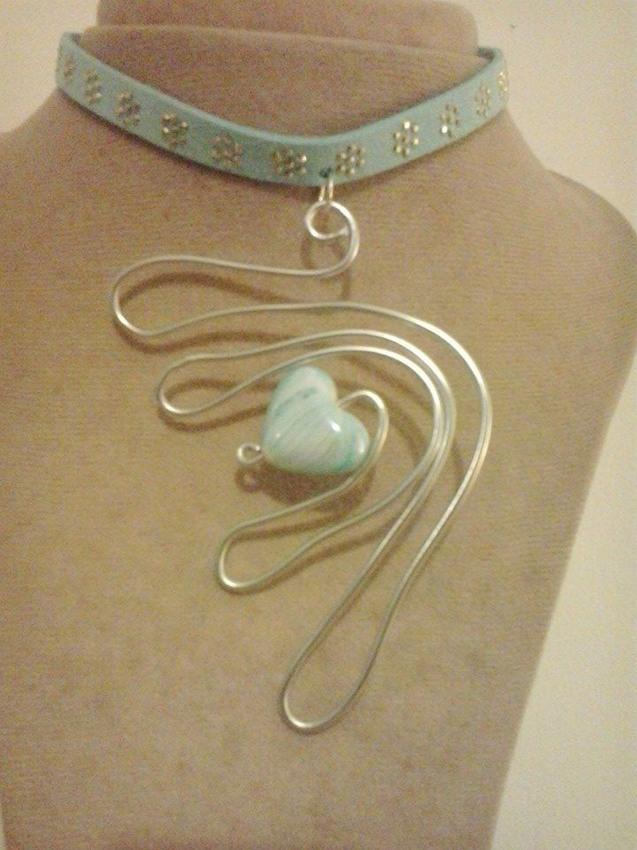 Silver wire and blue sky necklace