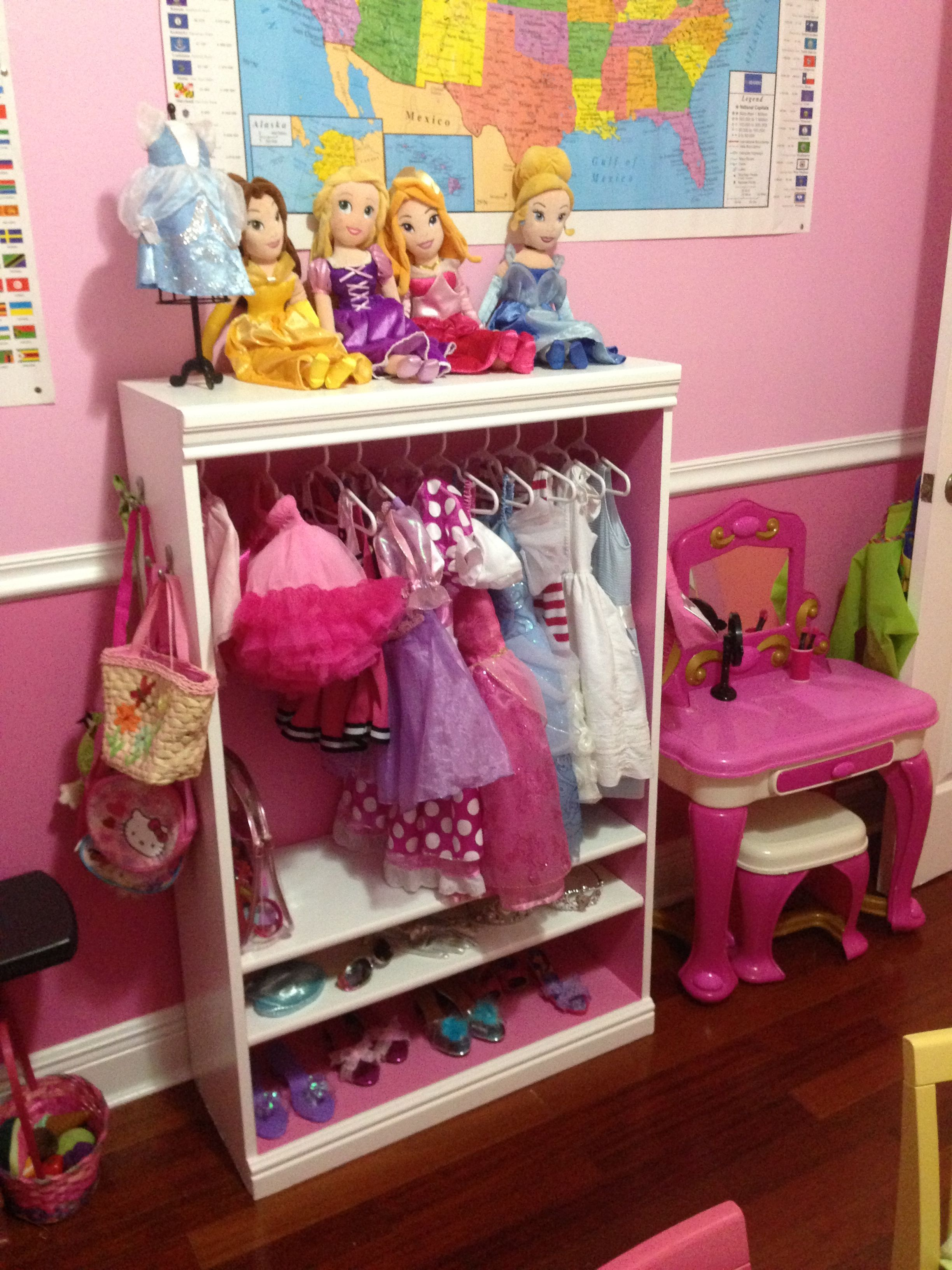 DIY Dress Up Closet.  Love the princesses on top