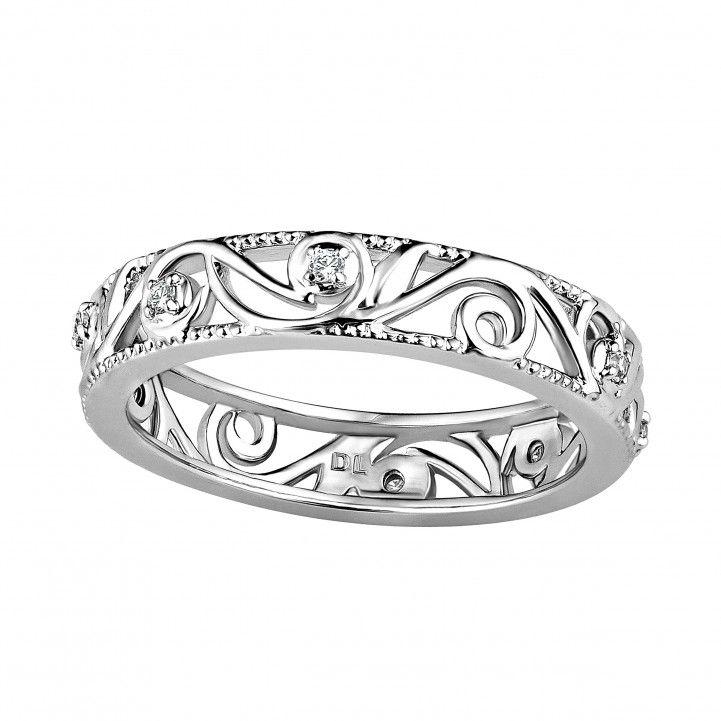 Liora 18ct White Gold Diamond Set Open Scroll Wedding Ring
