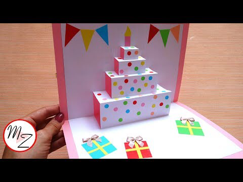 Diy Cake Pop Up Card For Birthday Easy 3d Cards Diy Maison Zizou Craft Mavis Blog Diy Pop Up Cards Birthday Card Craft 65th Birthday Cards