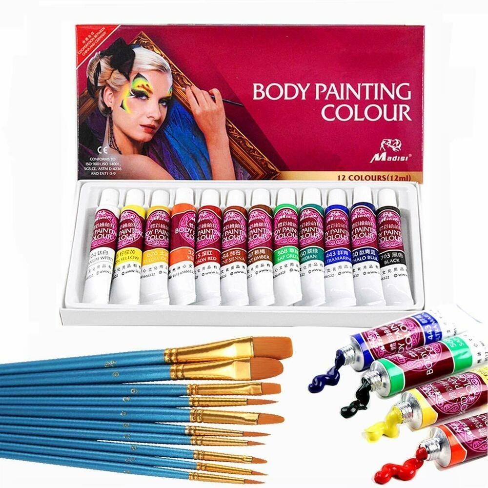 Face Paint Kit,12 Colors Professional Face Painting Tubes