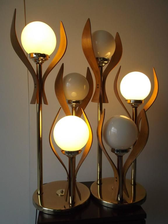 1200 Amazing Sculptural Bentwood Glass Globe Three Way Table Lamps 2 Vintage Table Lamp Table Lamp Lamp